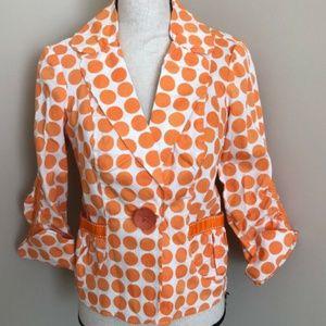 3 Sisters Orange Polka Dot Jacket Size S